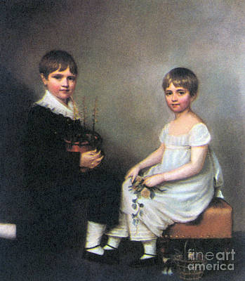 Of Painter Photograph - Charles And Catherine Darwin, 1816 by Science Source