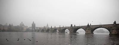 Charles Bridge Panorama At Dawn Art Print by Alexandre Fundone