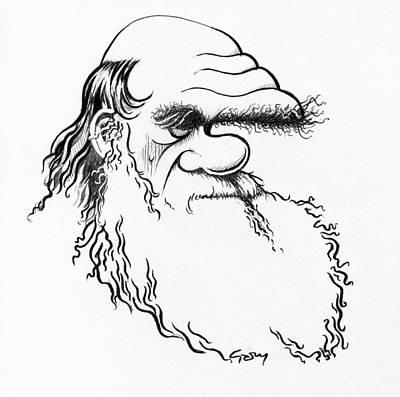 Charles Darwin, Caricature Art Print by Gary Brown