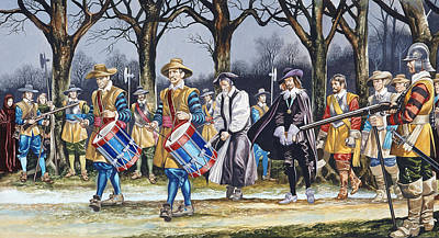 Monarch Painting - Charles I's Last Walk  by Ron Embleton