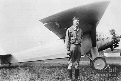 Photograph - Charles Lindbergh American Aviator by Photo Researchers