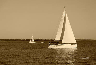 Photograph - Charleston Harbor In Sepia by Suzanne Gaff