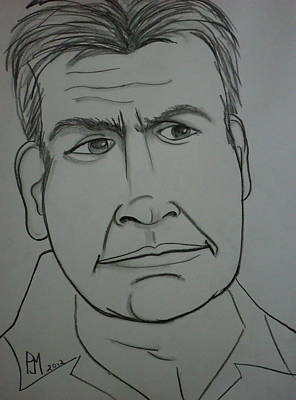 Caricature Drawing - Charlie II by Pete Maier