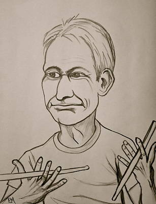 Caricature Drawing - Charlie Watts by Pete Maier
