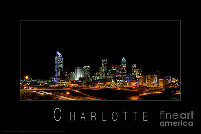 Charlotte Framed Photograph - Charlotte Skyline At Night by Patrick Schneider