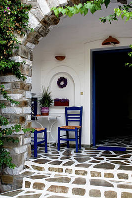 Photograph - Charming Paros Porch by Lorraine Devon Wilke