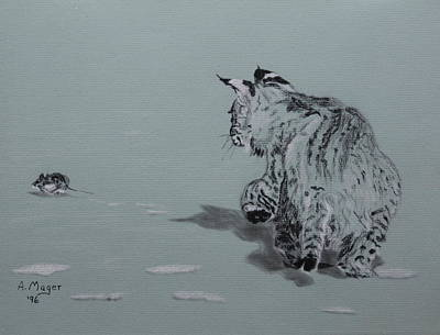 Painting - Chase In The Snow by Alan Mager
