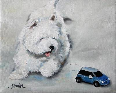 Oils Painting - Chasing Cars by Mary Sparrow