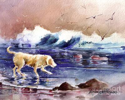 Golden Lab Painting - Chasing The Sea Gulls Away by Michael David Sorensen