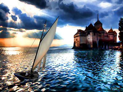 Chateau De Chillon On Lake Geneva Art Print