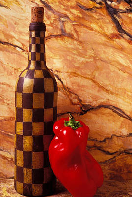 Checker Wine Bottle And Red Pepper Art Print by Garry Gay