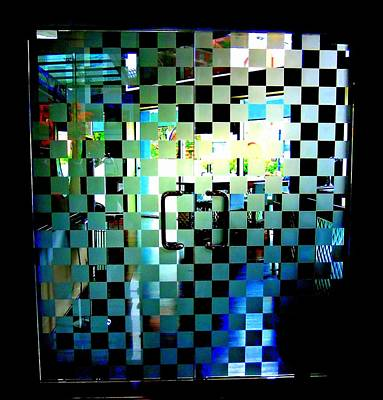 Etched Glass Photograph - Checkerboard Doors by Randall Weidner
