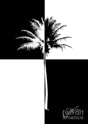 Checkered Black-and-white Photograph - Checkered Palm by David Paul Murray