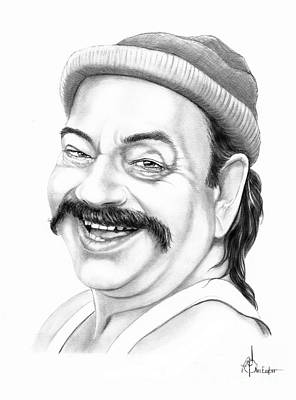 Famous People Drawing - Cheech Merrin by Murphy Elliott