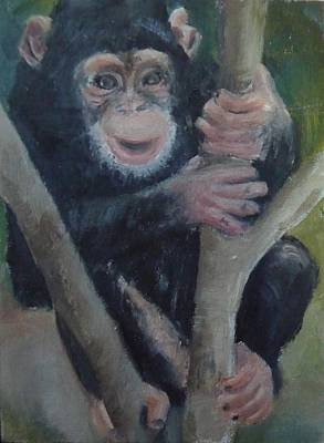 Art Print featuring the painting Cheeky Monkey by Jessmyne Stephenson