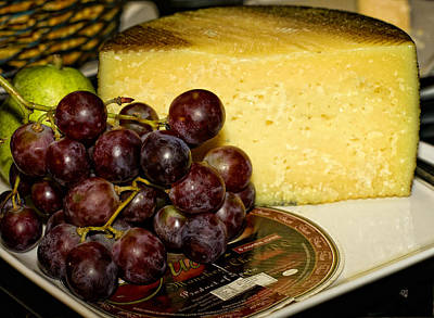 Cheese And Grapes Art Print by Barbara Middleton