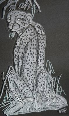 Carved Glass Painting - Cheetah by Akoko Okeyo