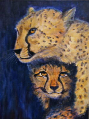 Cheetah Mother And Child Art Print
