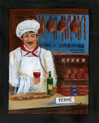 Paris Shops Painting - Chef At Days End by Marilyn Dunlap