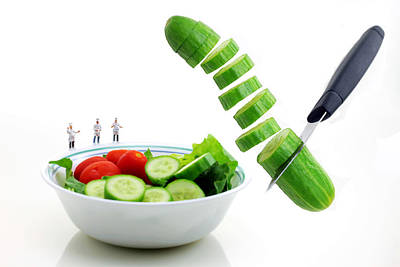 Chefs Making Salad Art Print by Paul Ge