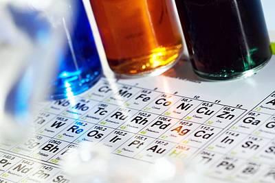 Coloured Glass Photograph - Chemistry Equipment by Steve Horrell