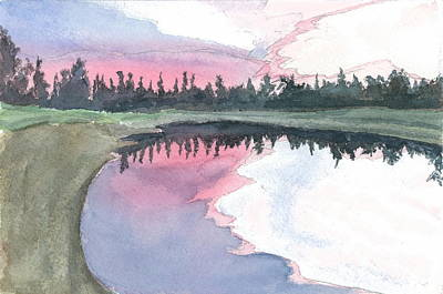 Painting - Chena River Sunset - 2 by Joel Deutsch
