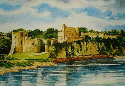 Castle Drawing - Chepstow Castle  Wales by Andrew Read