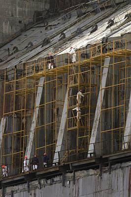 Chernobyl Sarcophagus Repairs, 2006 Art Print by Ria Novosti