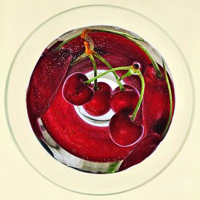 Cherries In A Wine Glass Art Print by Kaye Menner