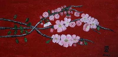 Cherry Blossom Trio Art Print by Lorraine Adams