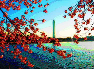 Washington Monument Digital Art - Cherry Blossoms And Washington Monument  by Don Allen
