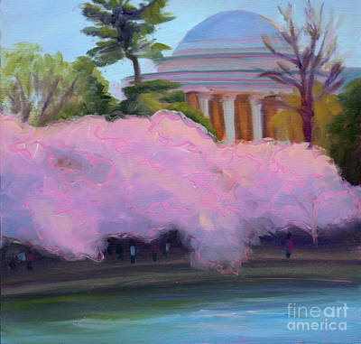 Jefferson Memorial Painting - Cherry Blossoms In Afternoon Light by Julie Hart