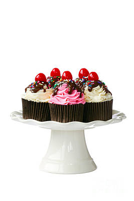 Cherry Cupcakes Art Print by Ruth Black