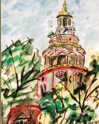 Chesky Krumlov Art Print by Janet Brice Parker