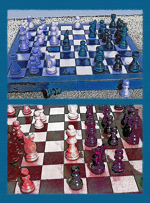 Game Piece Mixed Media - Chess Board - Game In Progress Diptych by Steve Ohlsen
