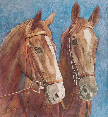 Painting - Chestnut Pals by Richard James Digance
