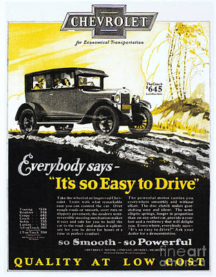 Photograph - Chevrolet Ad, 1926 by Granger