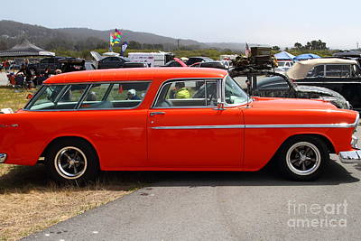 Domestic Cars Photograph - Chevrolet Bel-air Stationwagon . Orange . 7d15272 by Wingsdomain Art and Photography