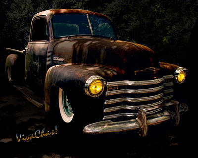 Chevy Hot Rat Rod Pickup Cowgirl's Last Stand Art Print