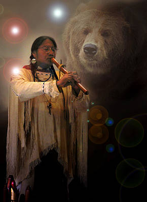Photograph - Cheyenne  Flute  Musician by Nancy Griswold