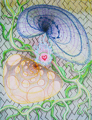 Chi Drawing - Chi Cognition Heart Intuition by George Wagner