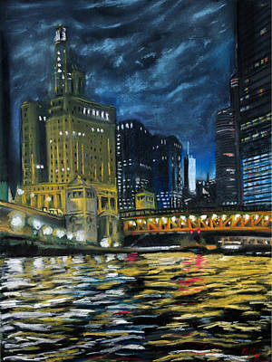 Chicago At Night Art Print by Peter Jackson