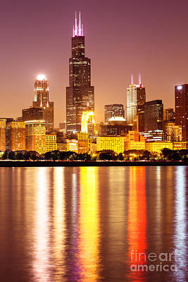 City Scenes Royalty-Free and Rights-Managed Images - Chicago at Night with Willis-Sears Tower by Paul Velgos