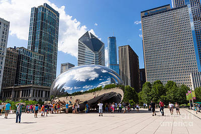 Millennium Park Photograph - Chicago Bean Cloud Gate With People by Paul Velgos