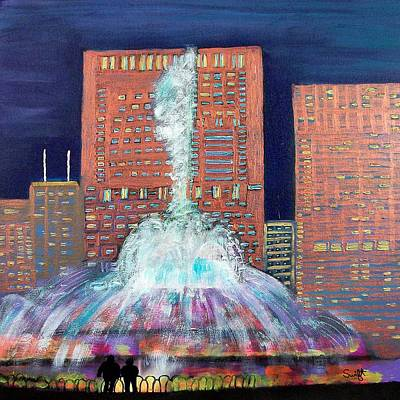 Chicago Buckingham Fountain At Night Art Print by Char Swift