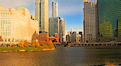 Chicago River Digital Art - Chicago By Train by Geoff Strehlow