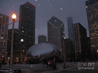 Photograph - Chicago Cloud Gate At Night by Ausra Huntington nee Paulauskaite