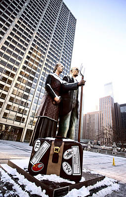 Lake Michigan Digital Art - Chicago Downtown City  Night Photography Wrigley Square American Gothic by Mark Duffy