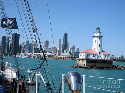 Pyrography - Chicago Harbor Lighthouse by Sonia Flores Ruiz
