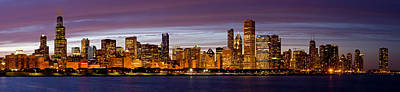 Adler Wall Art - Photograph - Chicago Illinois Skyline At Dusk by Twenty Two North Photography